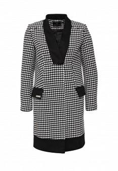 Женское белое черное осеннее пальто