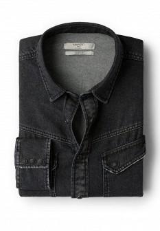 Мужская серая осенняя джинсовая рубашка