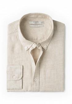 Мужская бежевая рубашка MANGO MAN