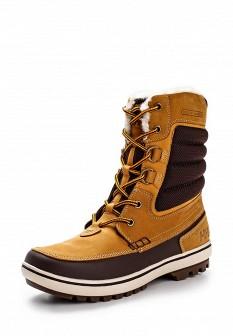 Мужские коричневые оранжевые трекинговые ботинки из нубука