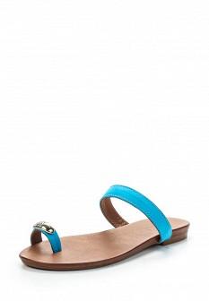 Женские голубые кожаные сабо