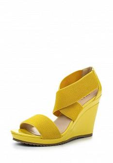 Женские желтые кожаные лаковые текстильные босоножки