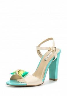 Женские бежевые зеленые лаковые босоножки на каблуке