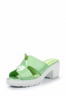 Женские мятные лаковые сабо на каблуке