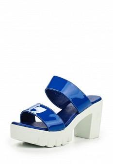Женские синие лаковые сабо на каблуке на платформе