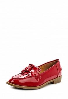 Женские красные осенние лаковые туфли лоферы