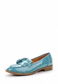Женские голубые осенние кожаные туфли лоферы