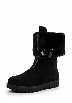 Женские черные сапоги на каблуке на платформе с мехом