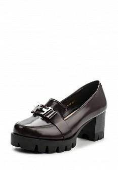 Женские коричневые туфли лоферы на каблуке на платформе