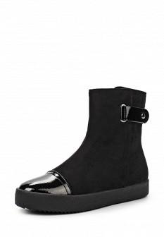 Женские черные осенние кожаные лаковые сапоги