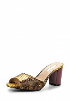 Женские коричневые осенние сабо из искусственной кожи на каблуке