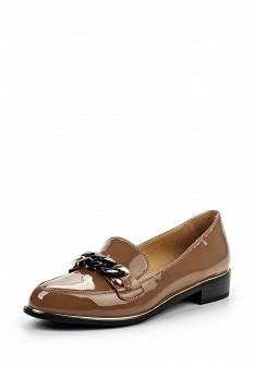 Женские коричневые лаковые туфли лоферы на каблуке
