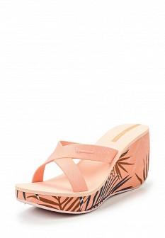 Женские розовые сабо на каблуке на платформе