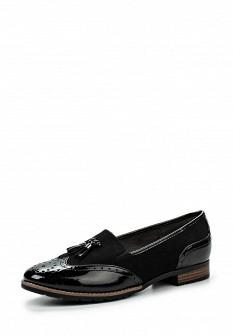 Женские черные лаковые туфли лоферы на каблуке