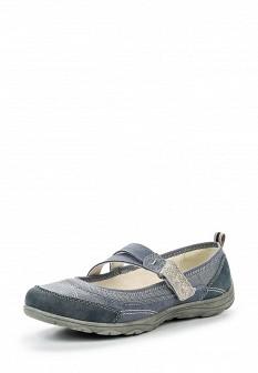 Женские синие кожаные текстильные туфли