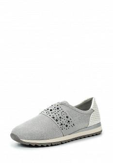 Женские серебряные кожаные кроссовки