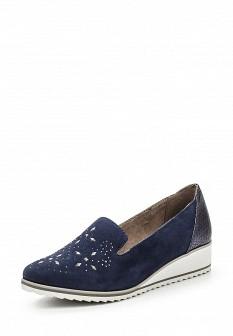 Женские синие кожаные туфли лоферы на каблуке