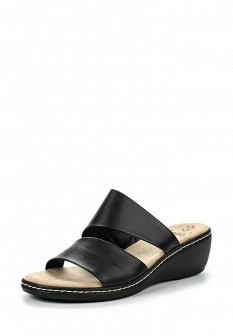 Женские черные итальянские кожаные сабо на каблуке
