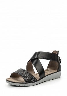 Женские черные кожаные сандалии с высоким голенищем