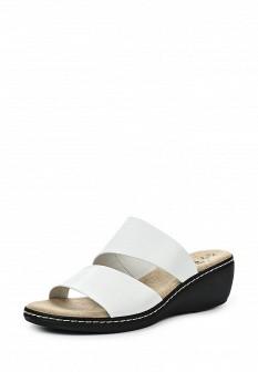 Женские белые итальянские кожаные сабо на каблуке