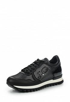 Женские черные итальянские осенние кожаные кроссовки