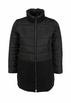Женское черное осеннее утепленное пальто