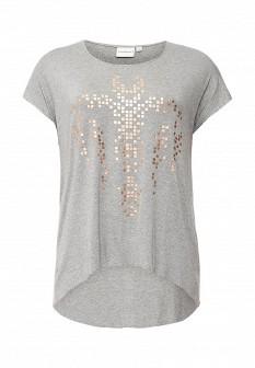 Женская серая футболка JUNAROSE