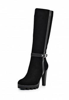 Женские черные кожаные сапоги на каблуке на платформе