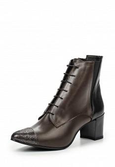 Женские итальянские осенние кожаные ботильоны на каблуке