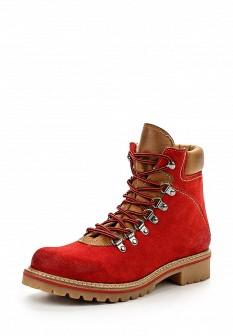 Женские красные осенние кожаные ботинки на каблуке