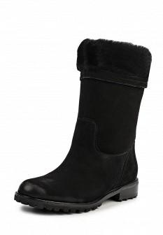 Женские черные осенние сапоги из нубука на каблуке