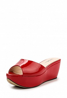 Женские красные лаковые сабо на каблуке на платформе