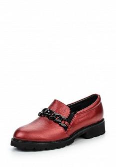 Женские красные осенние туфли лоферы на каблуке