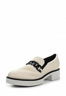 Женские белые кожаные туфли лоферы на каблуке