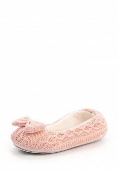 Женские розовые осенние текстильные тапочки