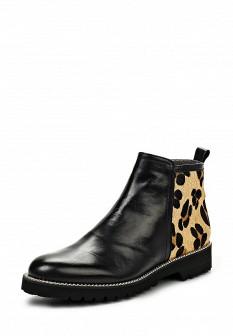 Женские бежевые черные испанские кожаные ботинки