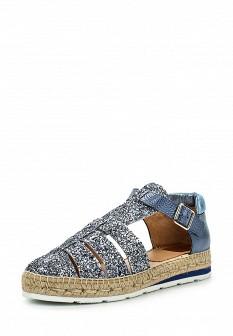 Женские синие испанские кожаные сандалии