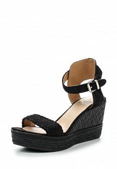 Женские черные испанские босоножки на каблуке на платформе