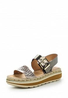 Женские испанские серебряные кожаные сандалии на каблуке