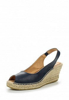 Женские синие испанские кожаные босоножки на каблуке