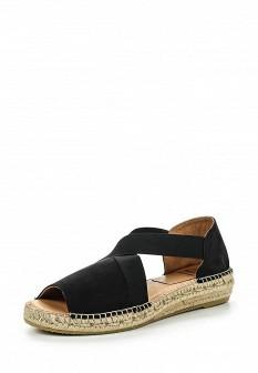 Женские черные испанские сандалии из нубука