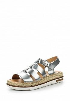 Женские испанские серебряные кожаные сандалии