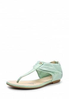 Женские зеленые кожаные сандалии