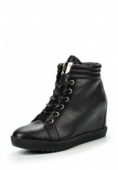 Женские черные осенние кеды на каблуках на танкетке