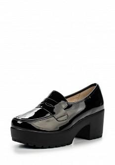 Женские черные осенние лаковые туфли на платформе