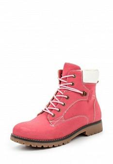 Женские розовые осенние ботинки из нубука на каблуке
