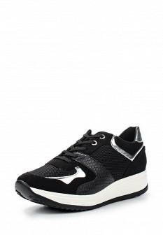 Женские черные кожаные кроссовки