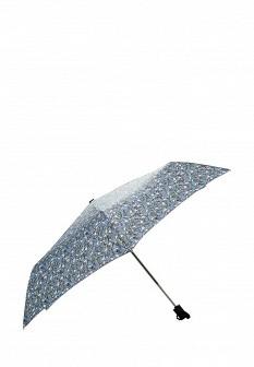 Женский голубой осенний складной зонт