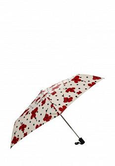 Женский бежевый осенний складной зонт
