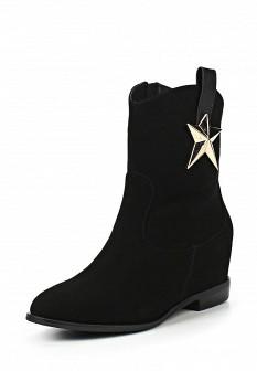 Женские черные кожаные сапоги из нубука на каблуке